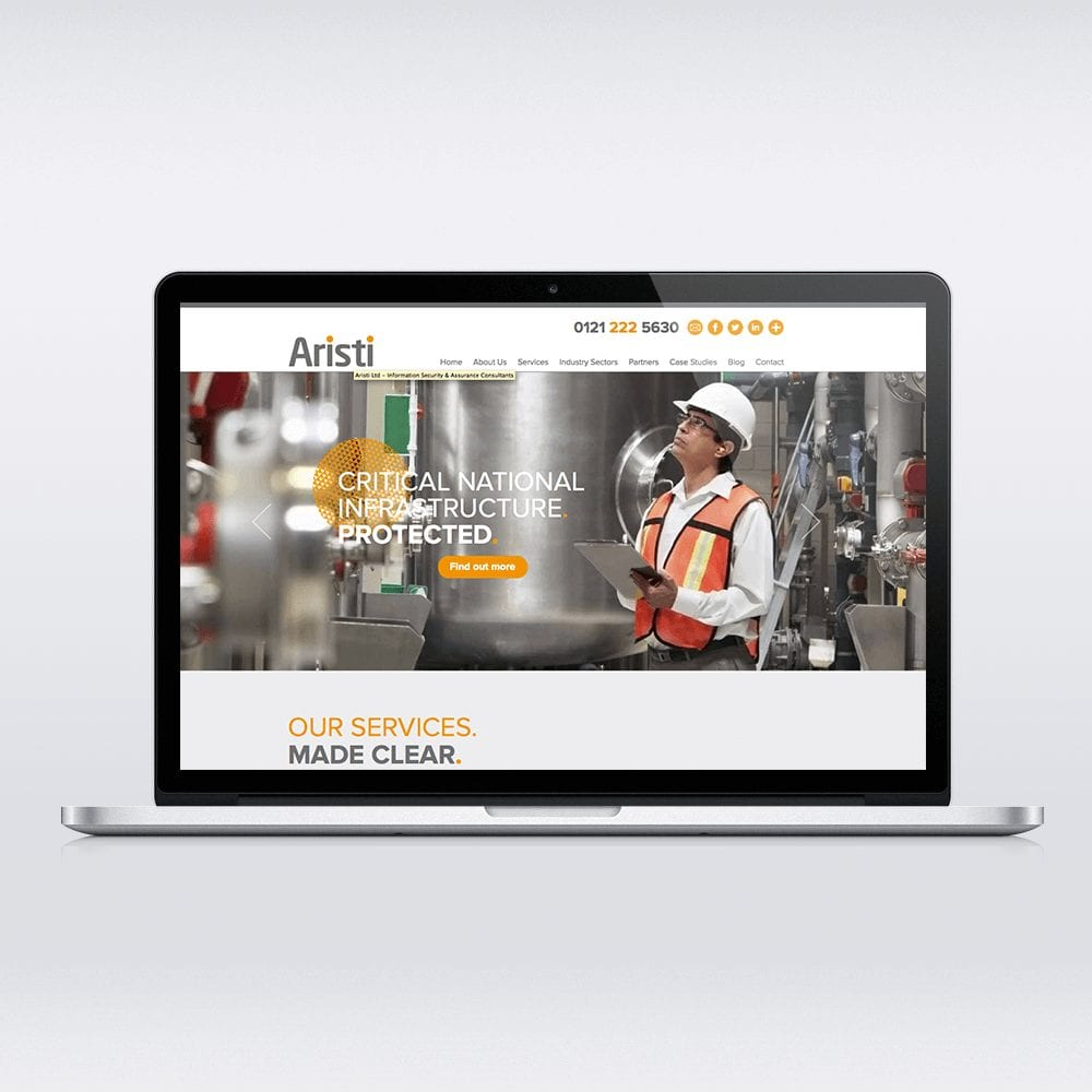 Bespoke Web Design for Birmingham business Aristi using the open source CMS Joomla