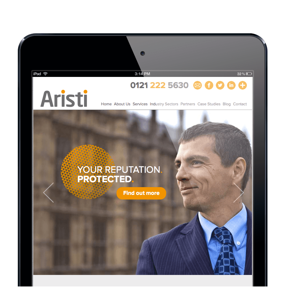 Mobile website design for Birmingham based Aristi
