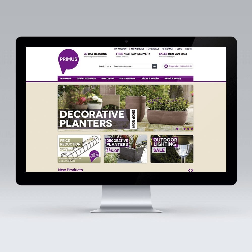 Bespoke Magento theme design and development for Dudley based homewares retailer PRIMUS
