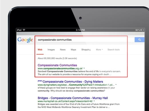 Compassionate Communities SEO results