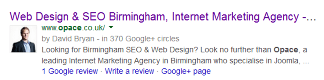 google authorship rich snippet
