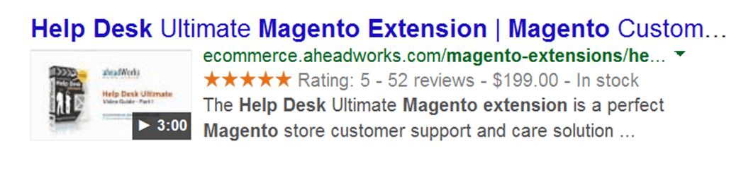 magento rich snippets search result example