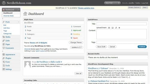 WordPress Simple User Interface