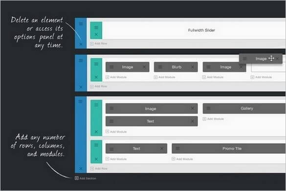 Drag and drop module based layouts using Divi