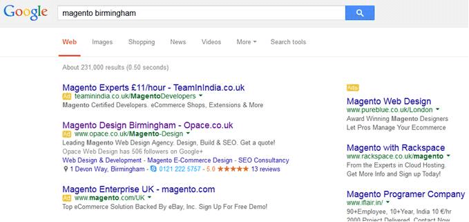 Opace starred ratings in AdWords listings