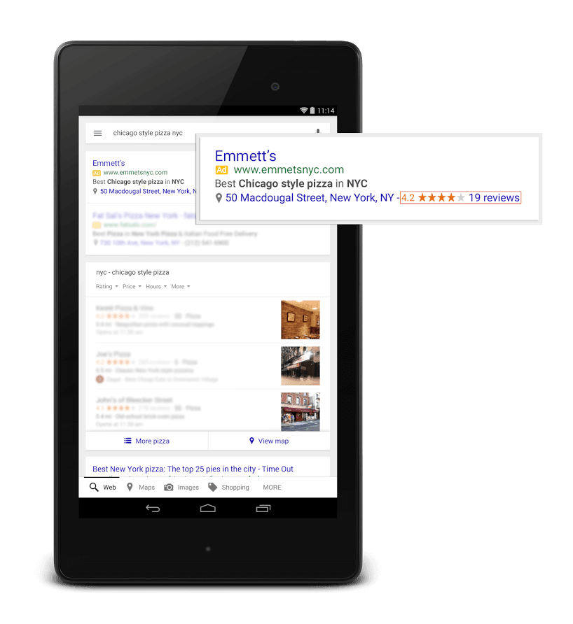 Google+ My Business Reviews and Ratings in AdWords Listings