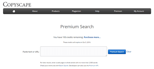 Copyscape premium search screen