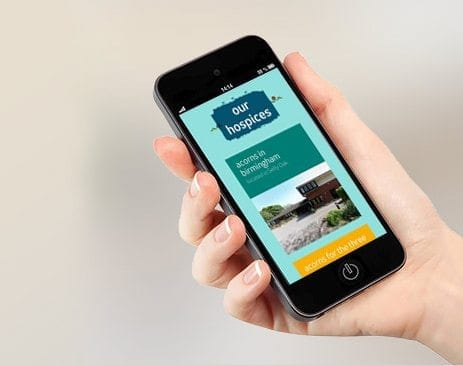 Responsive web design for Acorns Children's Hospice Trust