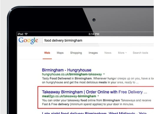 Meal2Go SEO - takeaway delivery