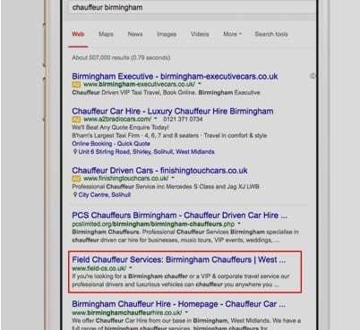 Field Chauffeur Services Google Keyword Search