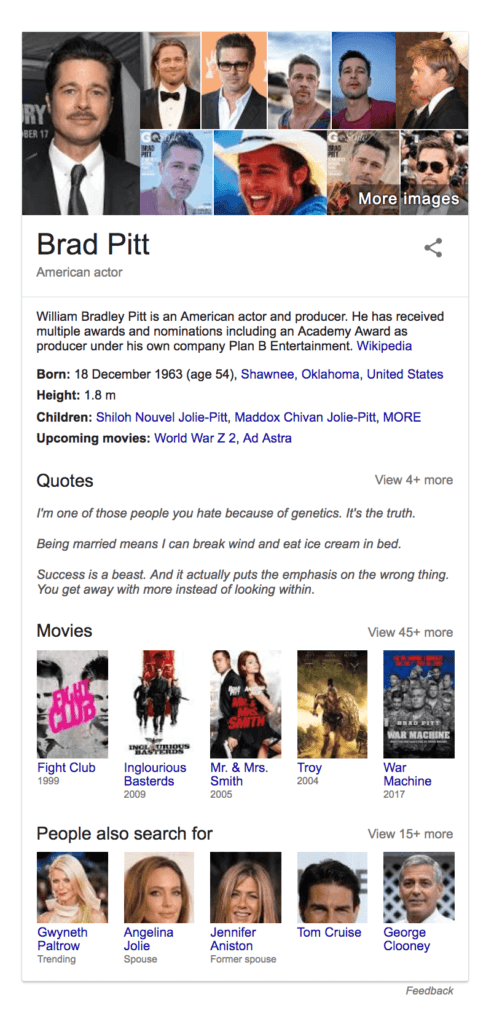 Knowledge panel showing Brad Pitt