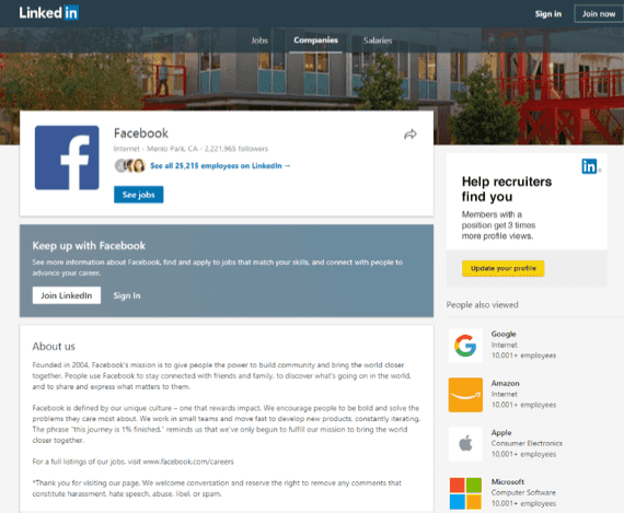 A LinkedIn business profile - improve your brand recognition with this tool