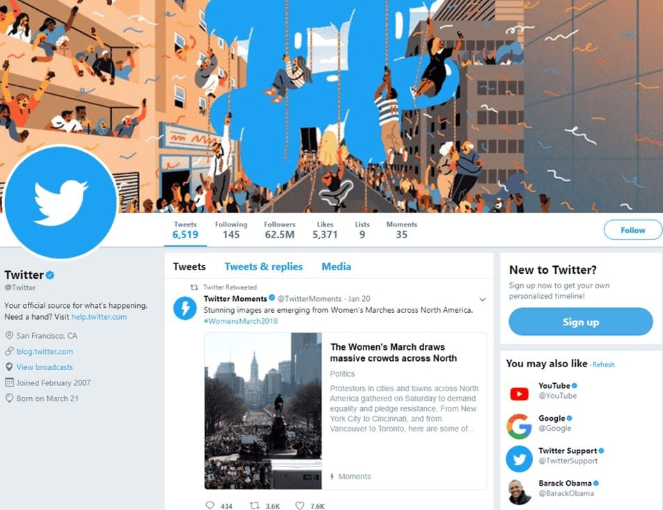A Twitter page