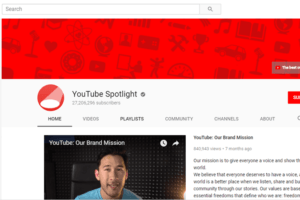 YouTube's own YouTube page