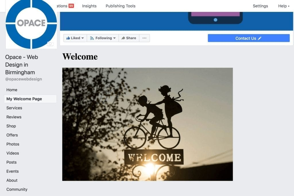 Facebook custom welcome page
