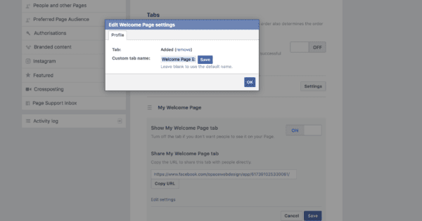 Changing a custom Facebook tab name