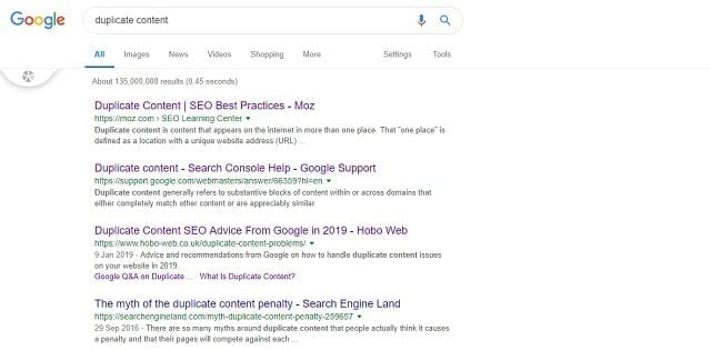 duplicate content and SERP