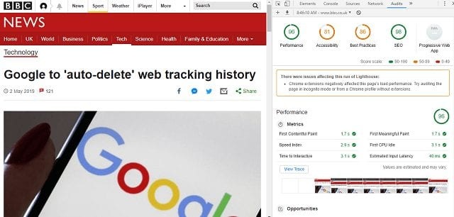 using google lighthouse to improve page speed