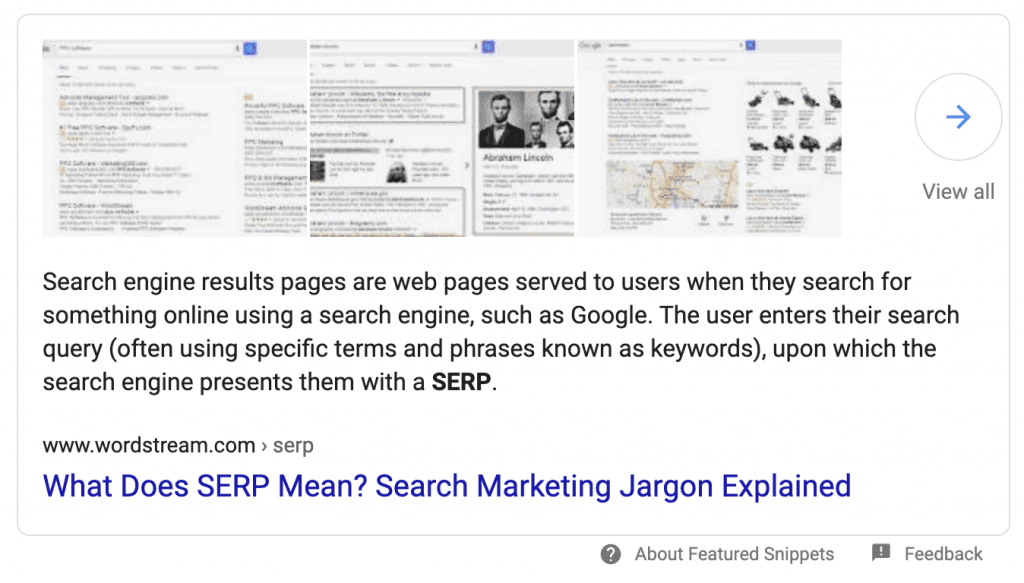 SERP Feature – featured snippets