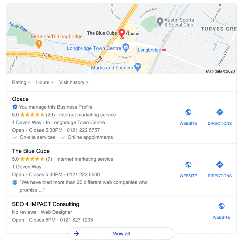 SERP Feature – local results