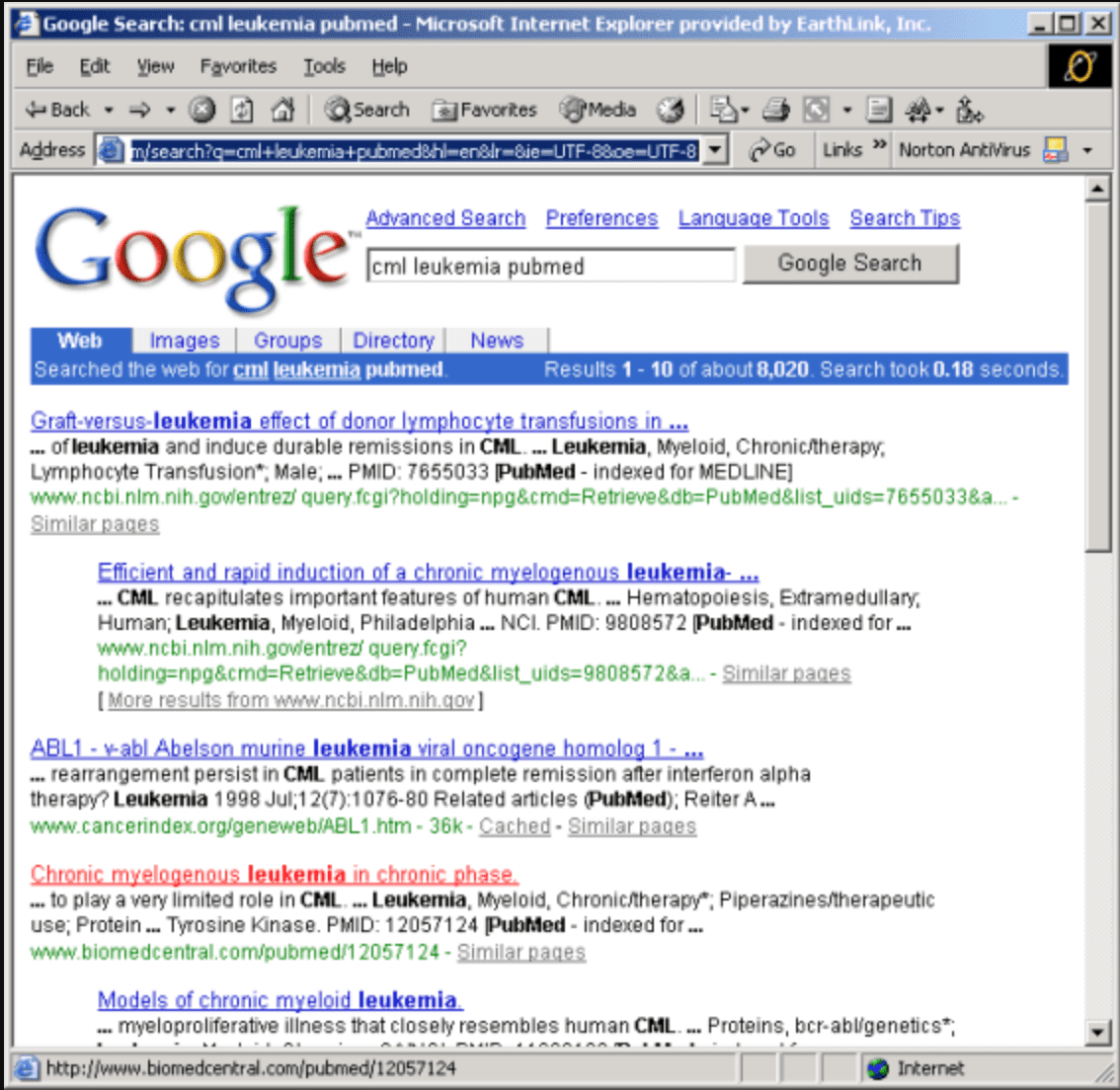 old style of google serp 1990s